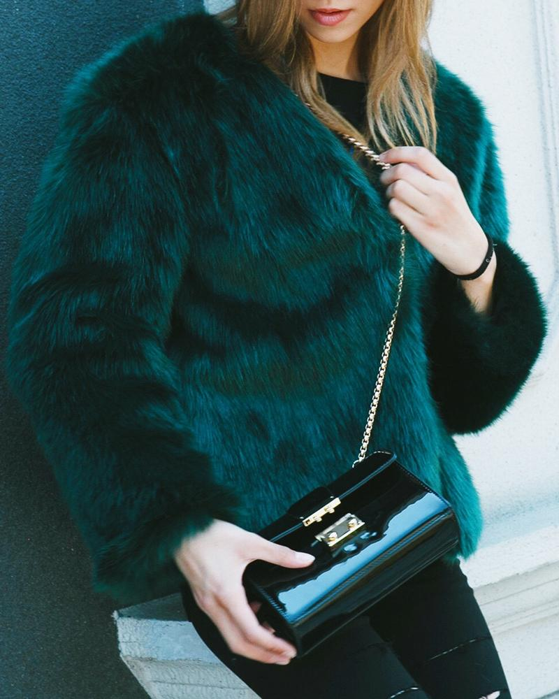 Plus Size Fluffy Open Front Fur Coat, Dark green