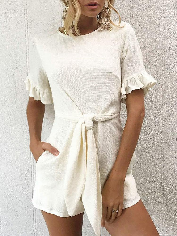 Solid Waist Belted Ruffles Casual Playsuit