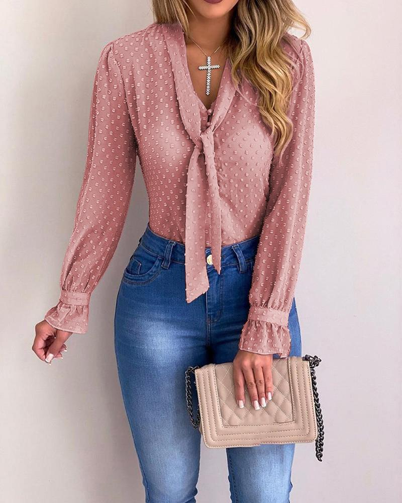 Tied Button Detail Dots Casual Shirt, Pink