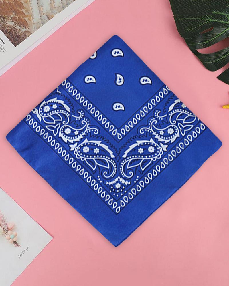 12PCS Paisley Cowboy Bandanas Head Wrap, Blue