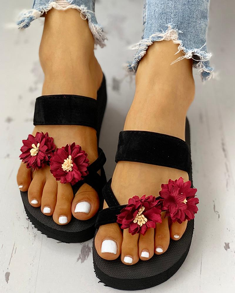 Flower Embellished Toe Ring Casual Sandals фото