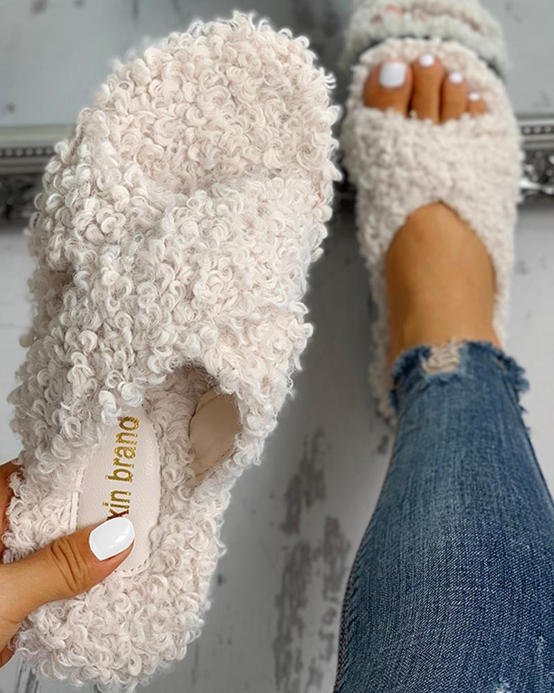 Solid Fluffy Crisscross Design Flat Sandals