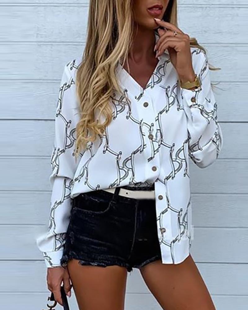 boutiquefeel / Camisa estampada de manga comprida com corrente