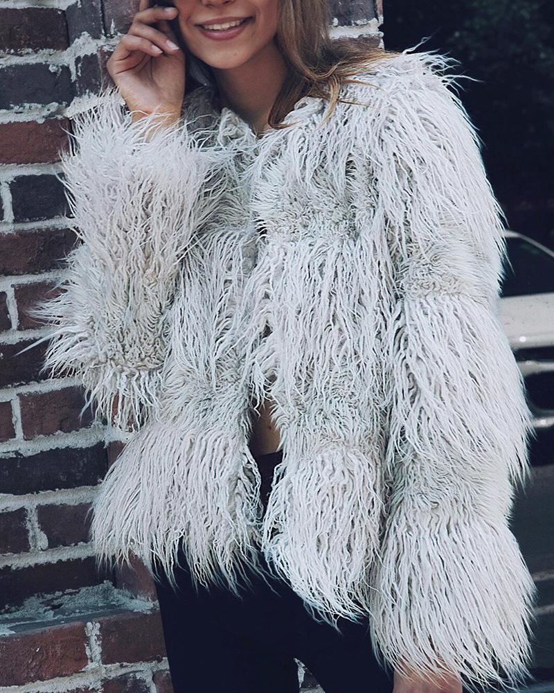 Faux Fur Long Sleeve Jacket, Gray