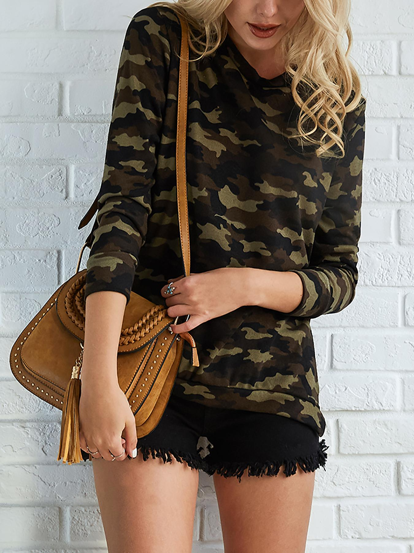 Stylish Camouflage Print Flannel Top фото
