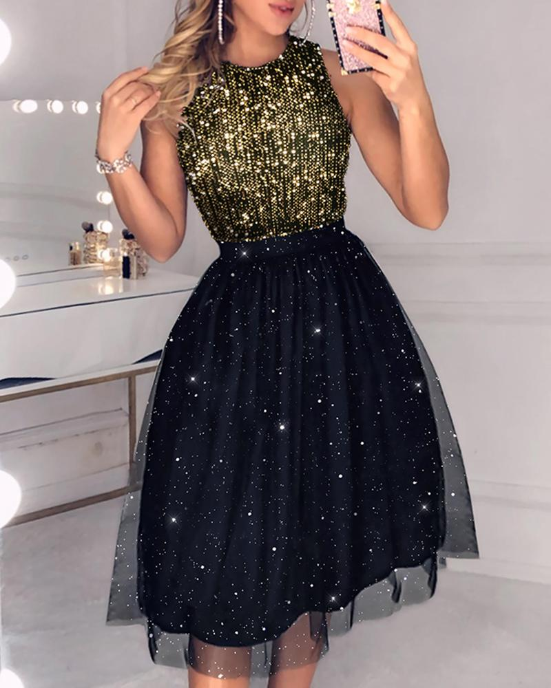 Mesh Sleeveless Sequins Party Dress фото