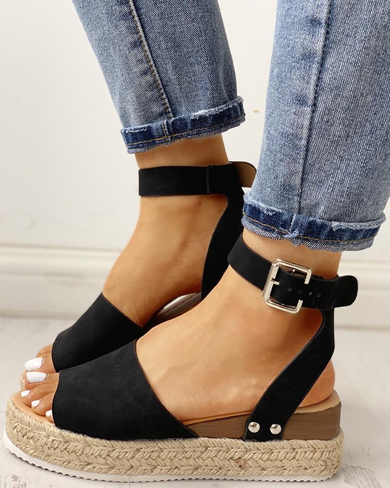 Peep Toe Slingback Espadrille Platform Sandals фото