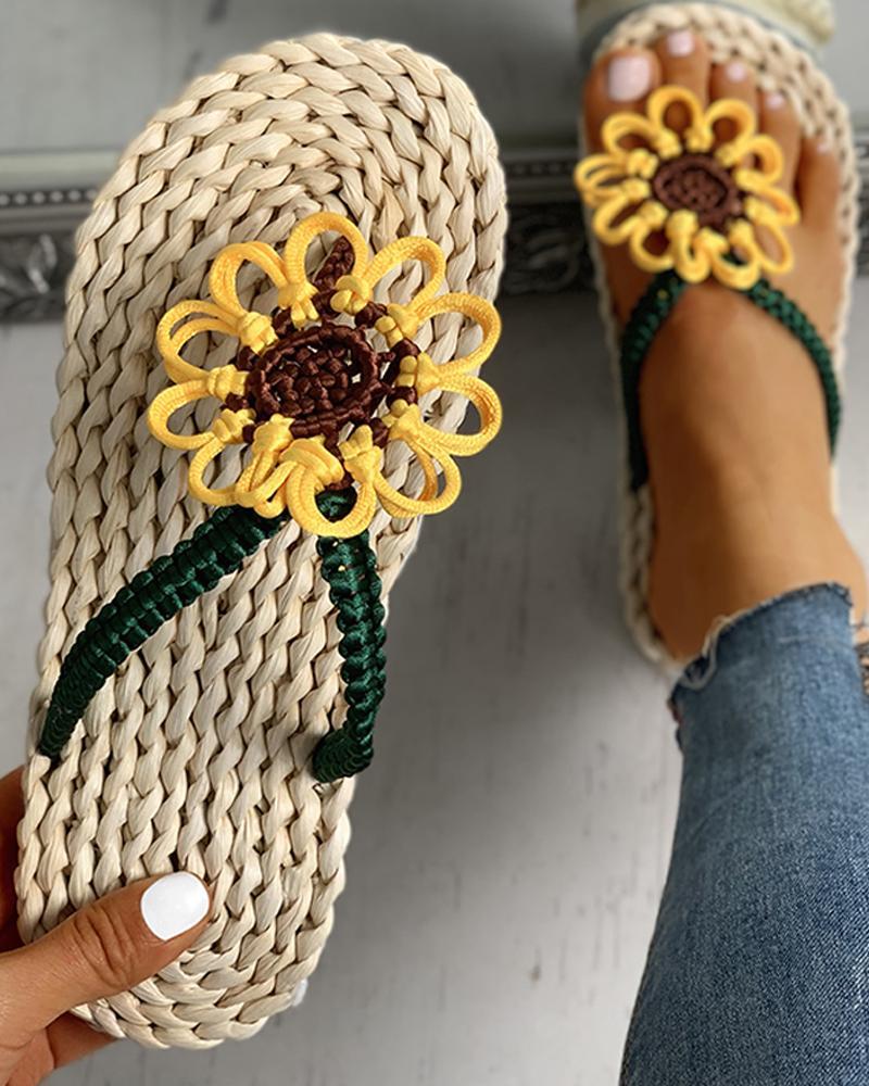 Sunflower Design Toe Post Flat Slipper фото