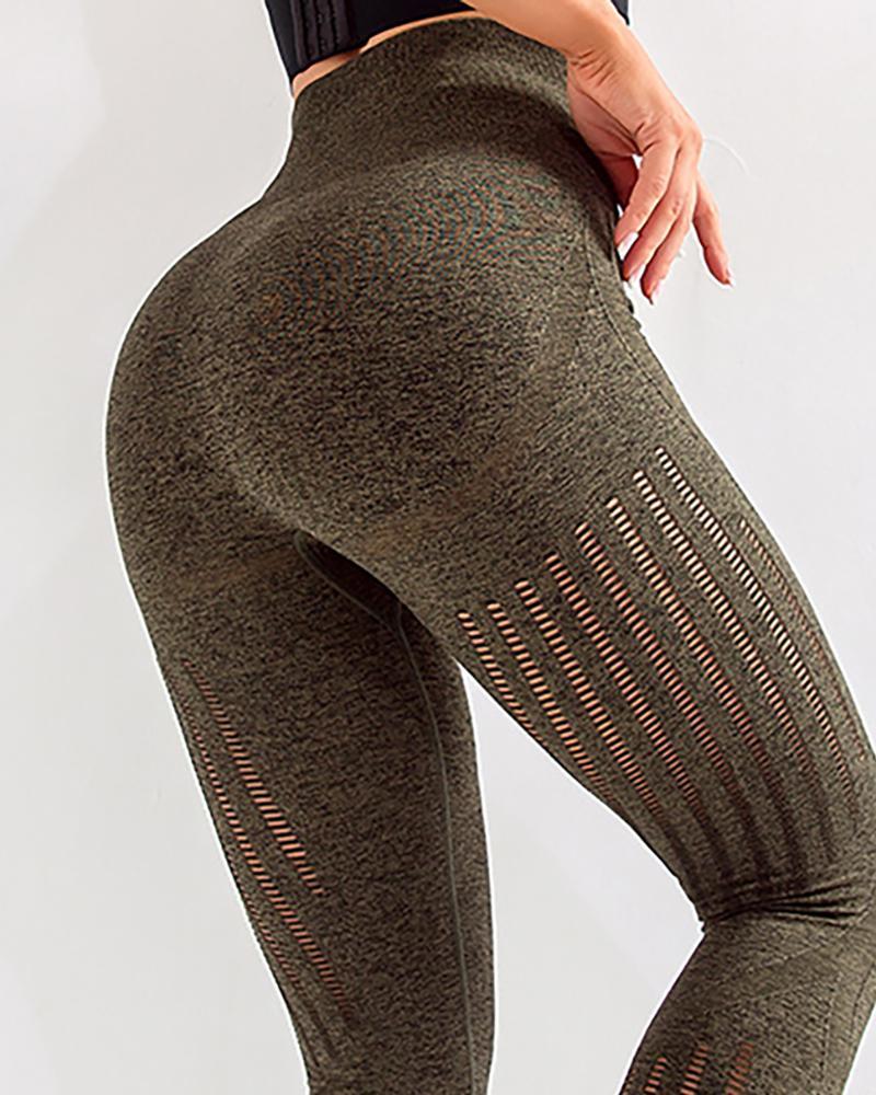 chicme / Pantalones de yoga sólidos de cintura alta ahuecados