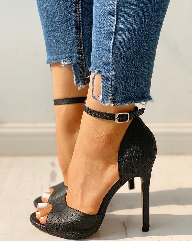 chicme / Peep Toe Ankle Strap Thin Heeled Sandals