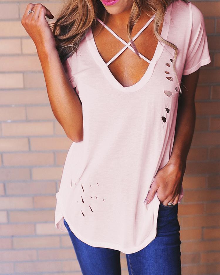 Stylish Criss Cross Cut Out T-shirt