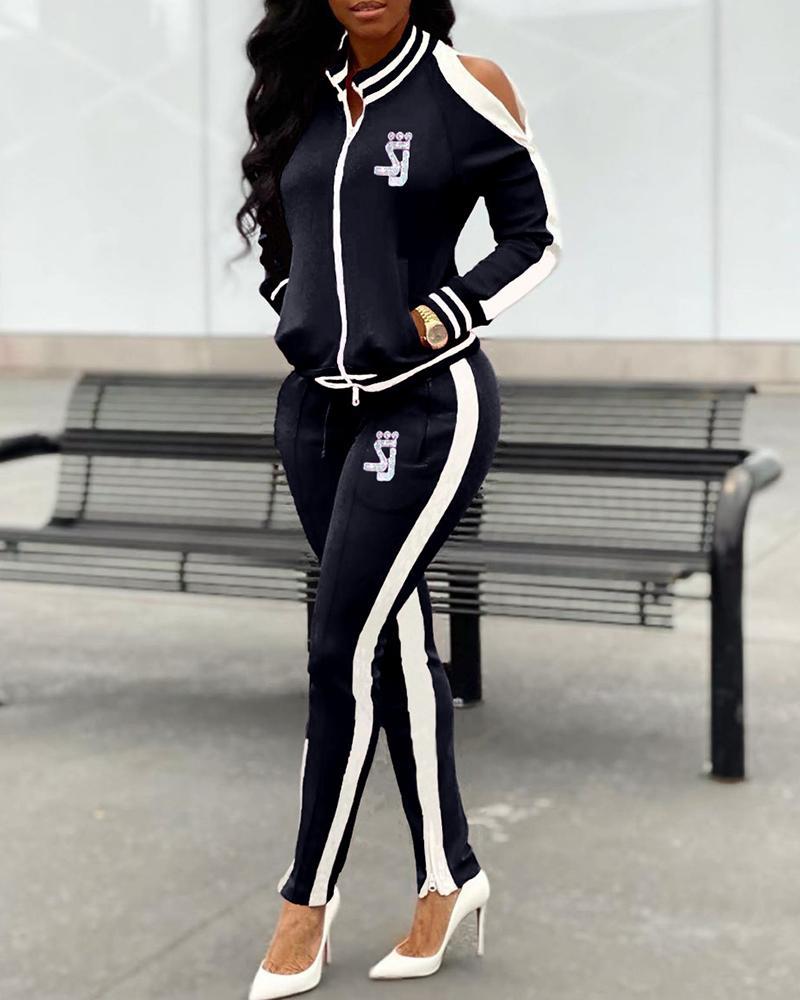 Cold Shoulder Side Stripe Top & Pant Sets фото