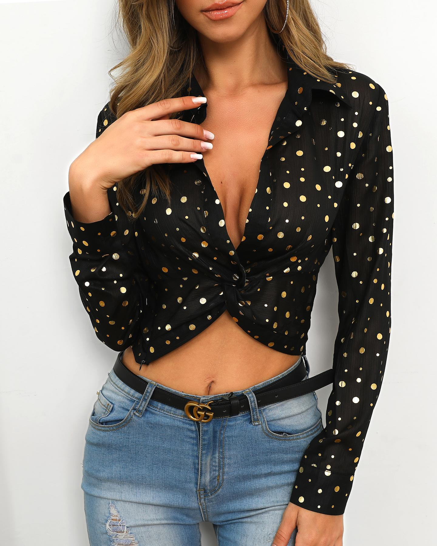 Dot Long Sleeve Twisted Front Shirt
