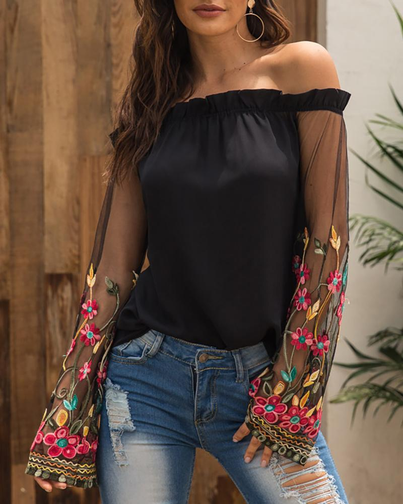 Off Shoulder Embroidered Mesh Splicing Blouse фото