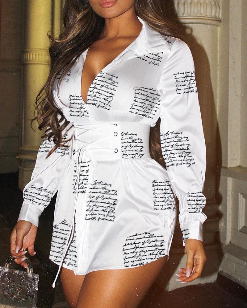 chicme / Vestido camisero con ojales y estampado de letras