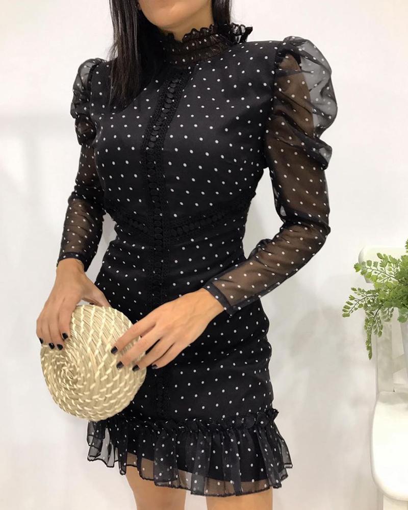 boutiquefeel / Vestido de malha transparente com estampa pontilhada de manga bufante franzida