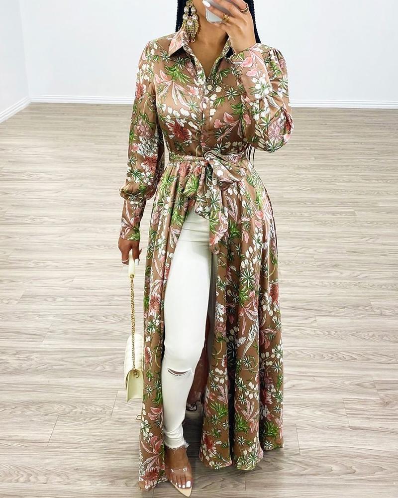 Floral Tie Waist Maxi Shirt Dress, Multicolor