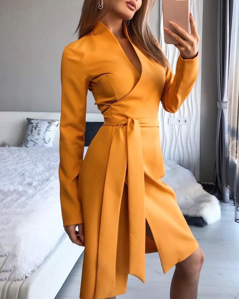 Solid Long Sleeve Tied Waist Slit Dress фото
