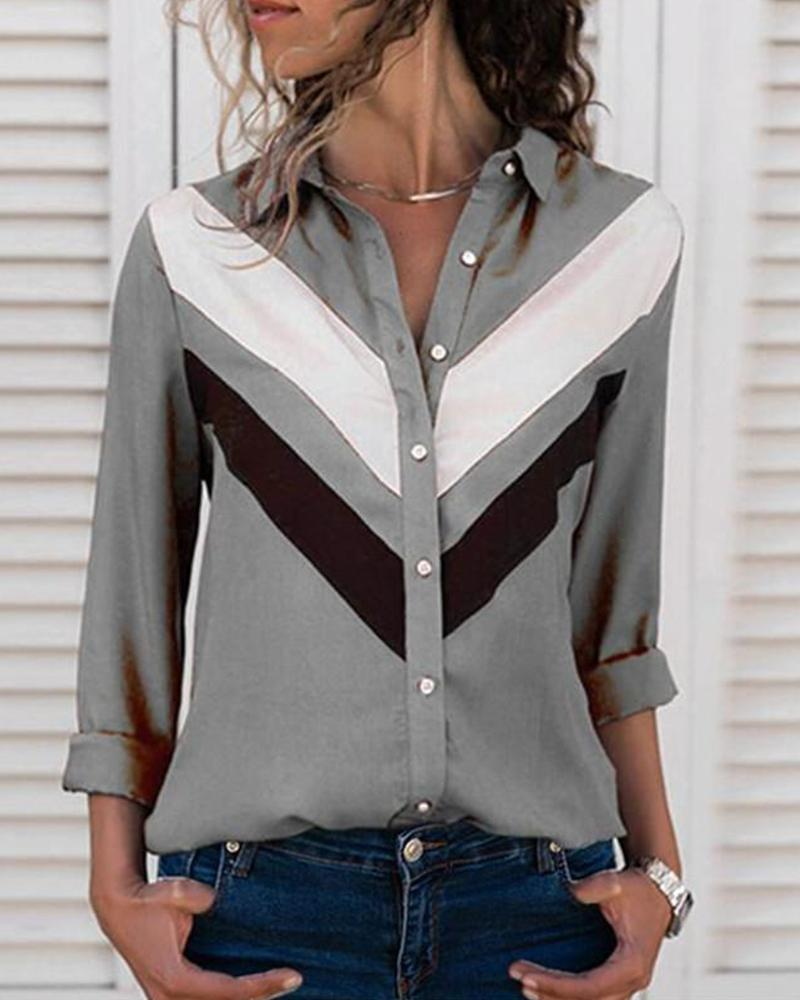 Contrast Color Button-Up Long Sleeve Shirt фото