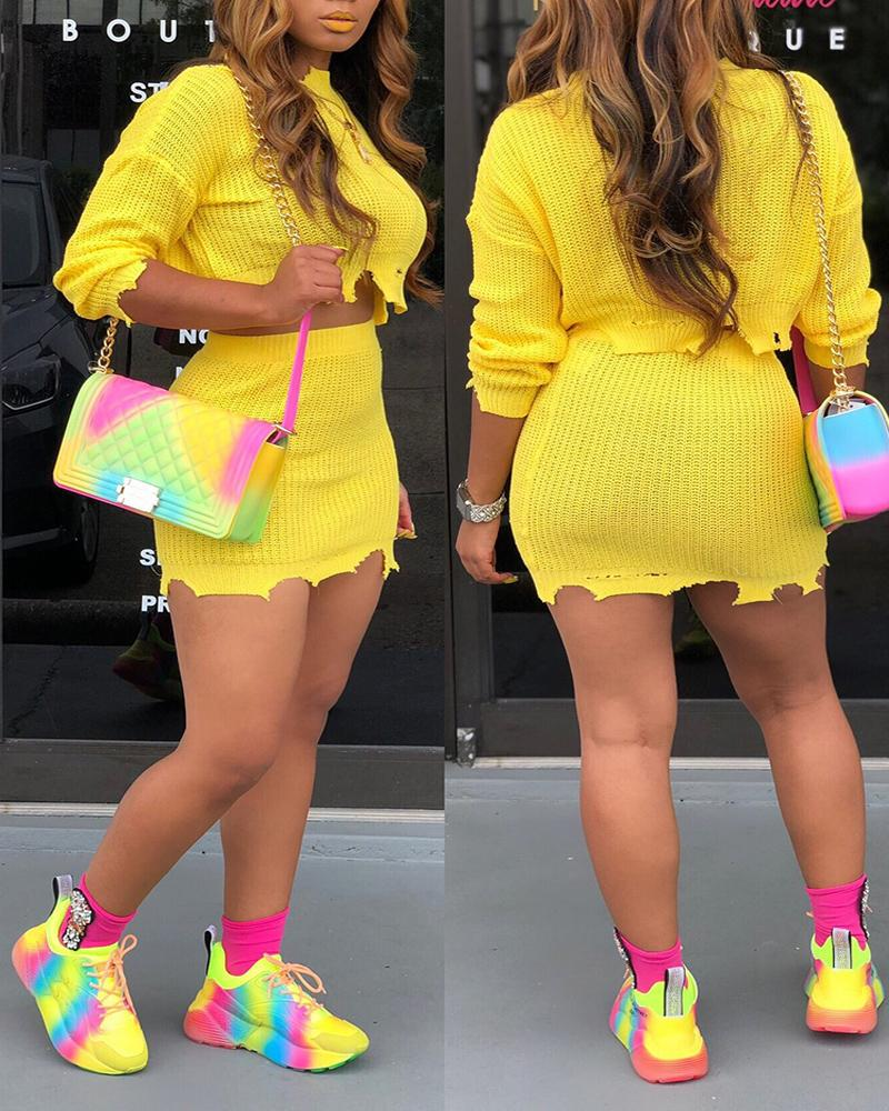 Knitted Irregular Hem Top & Skirt Set фото