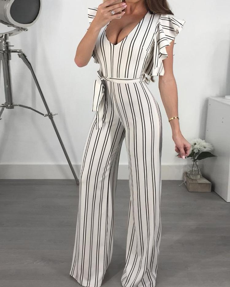 Ruffled Deep V Tied Waist Stripes Jumpsuit фото