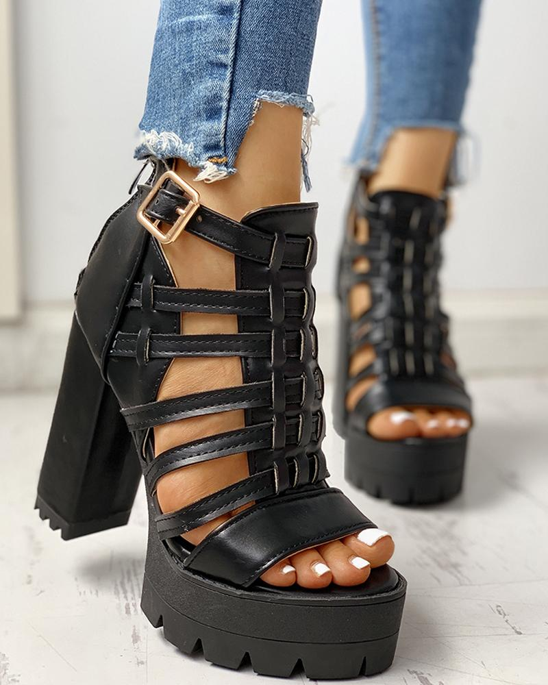Hollow Out Platform Chunky Heeled Sandals фото