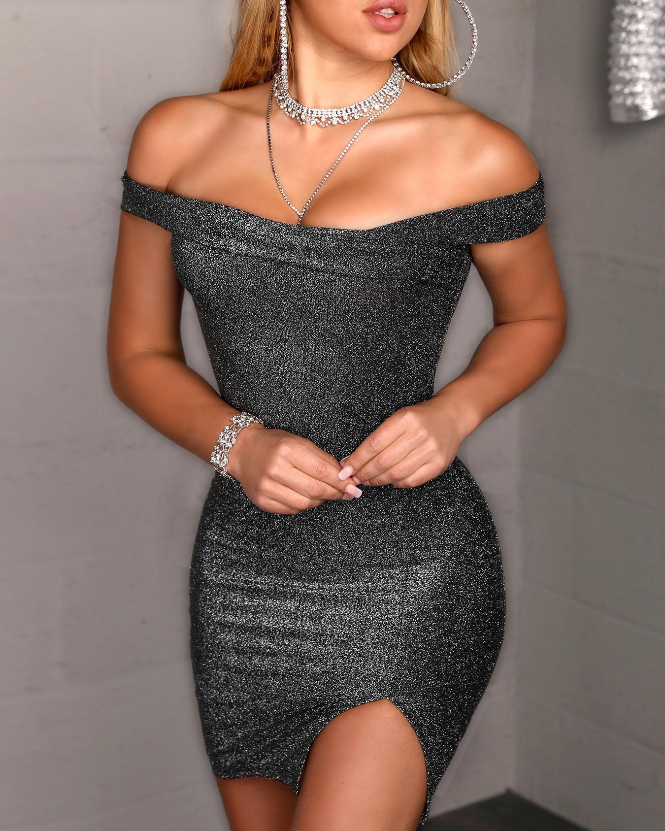 Glitter Off Shoulder Slit Bodycon Dress, Black