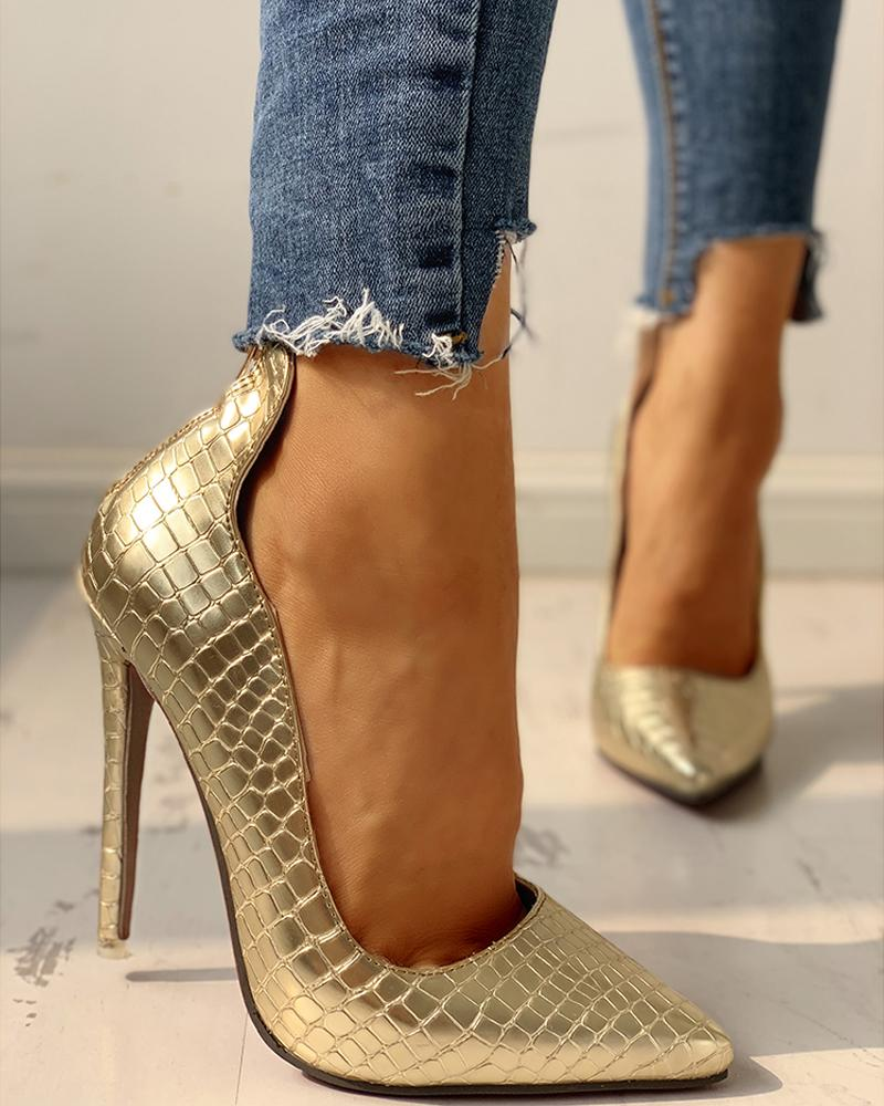 Pointed Toe Zipper Back Thin Heels
