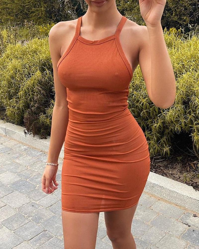 boutiquefeel / Mini vestido sólido Bodycon Tank