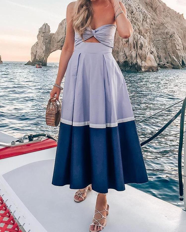 Цвет Блока Перекрученной Отделкой Спереди Плиссированные Платье
