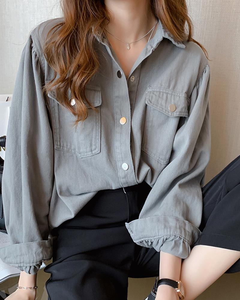 boutiquefeel / Camisa casual abotonada sólida con botones
