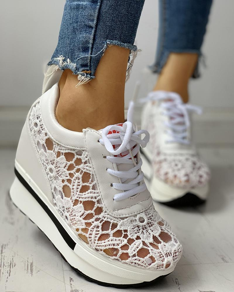 ivrose / Lace Splicing Muffin Casual Sneakers