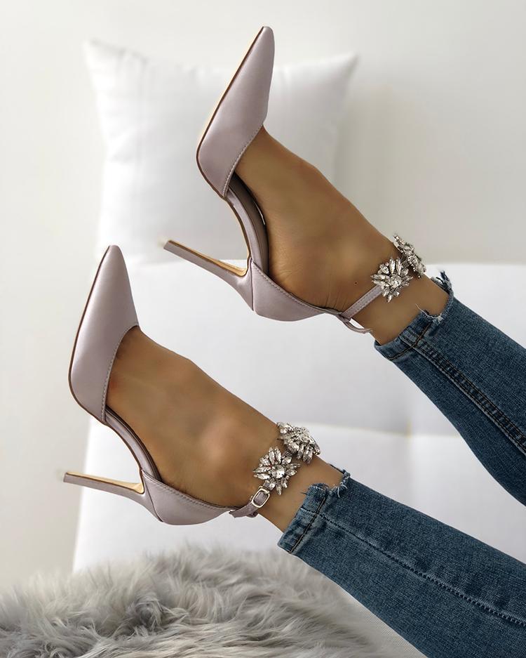 Womens Satin Pointed Toe Shiny Ankle Strap Stiletto Heels фото