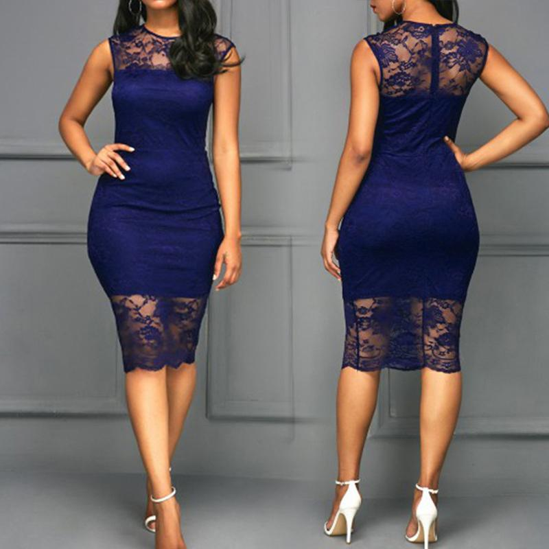 chicme / Splicing Lace Crochet Bodycon Dress