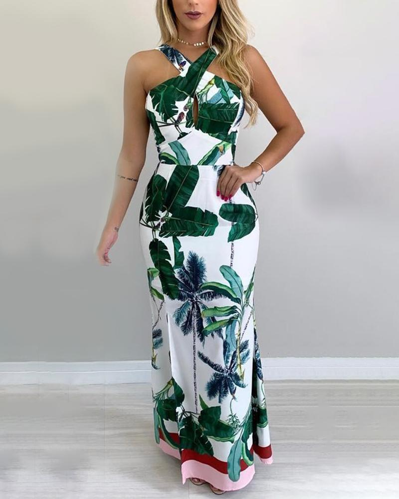 Tropical Print Crisscross Neck Maxi Dress
