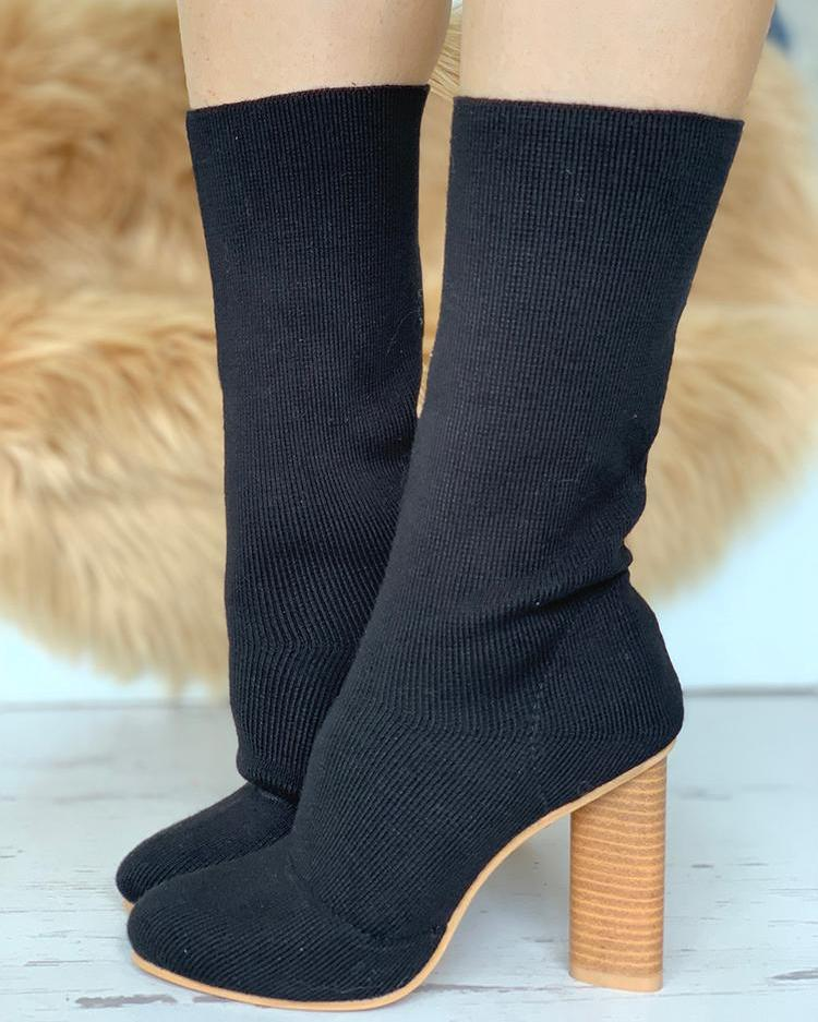 Solid Knitted Sock Chunky Heel Boots