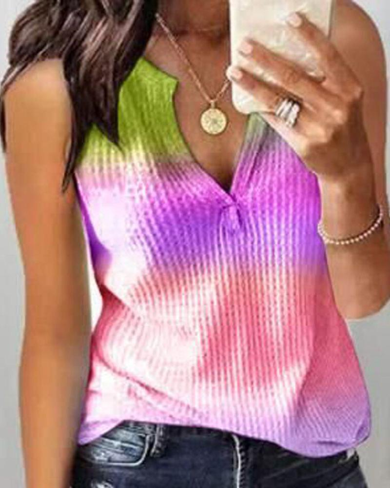 Tie Dye Print Ribbed Casual Tank Top фото