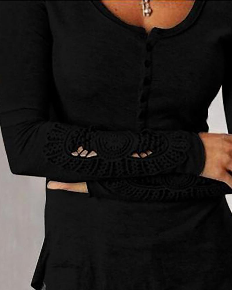 Round Neck Lace Insert Buttoned Blouse фото