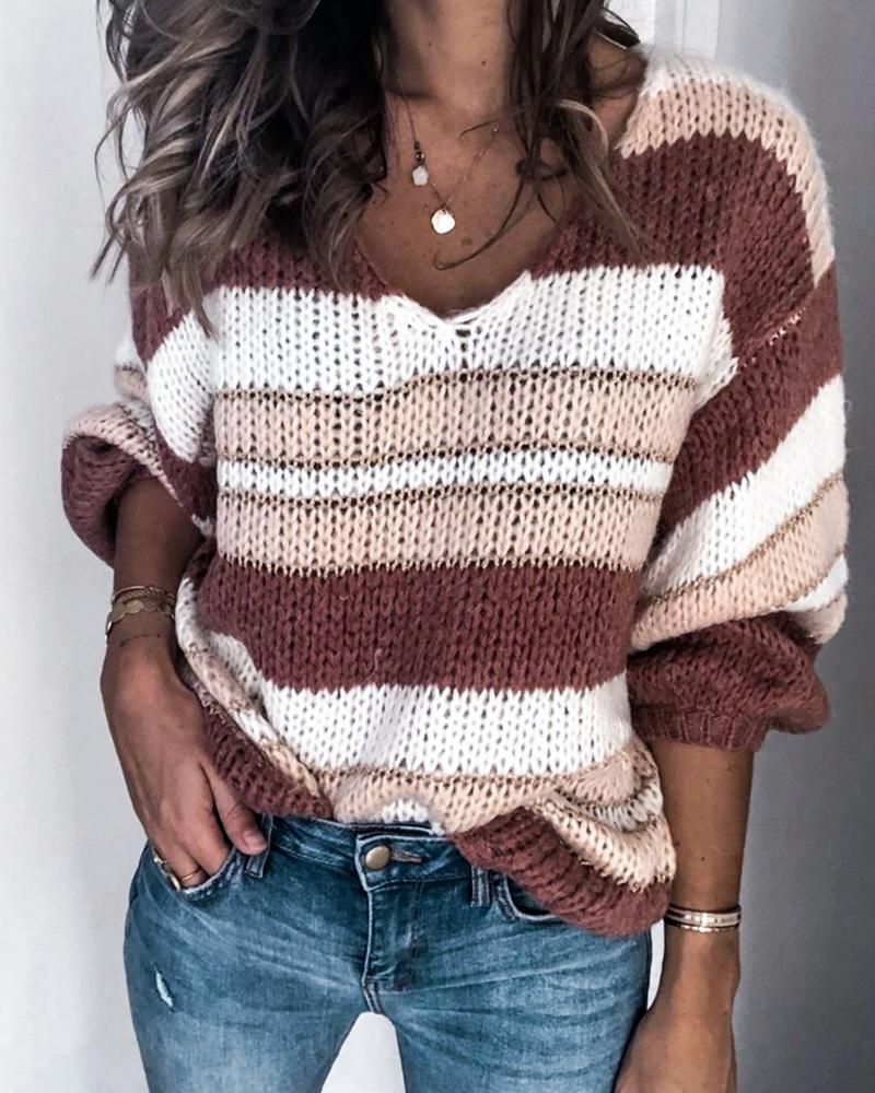 V Neck Loose Knit Sweater фото