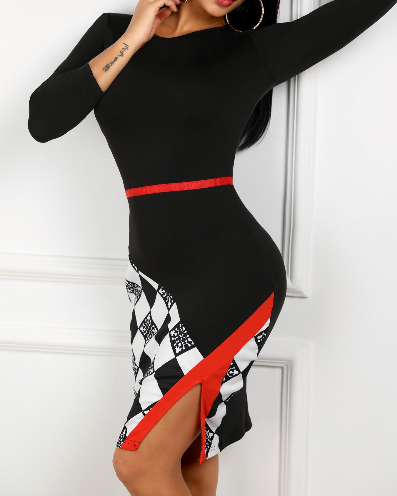 Contrast Color Checkboard Slit Long Sleeve Dress фото