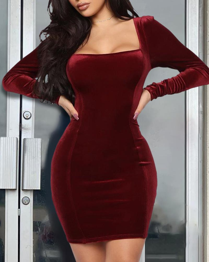 Solid Square Neck Long Sleeve Bodycon Dress фото