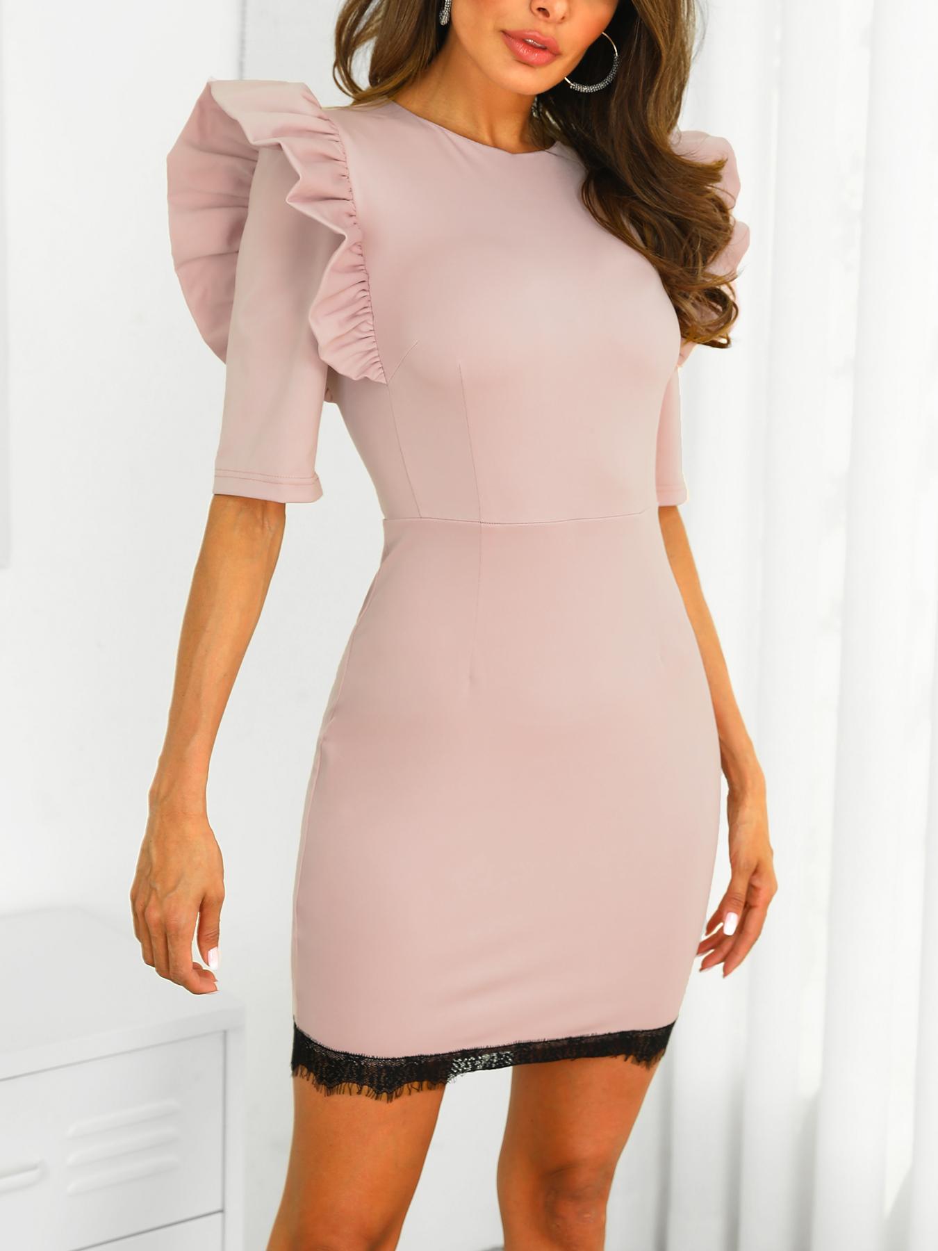 Ruffles Shoulder Eyelash Lace Bodycon Dress, Brown