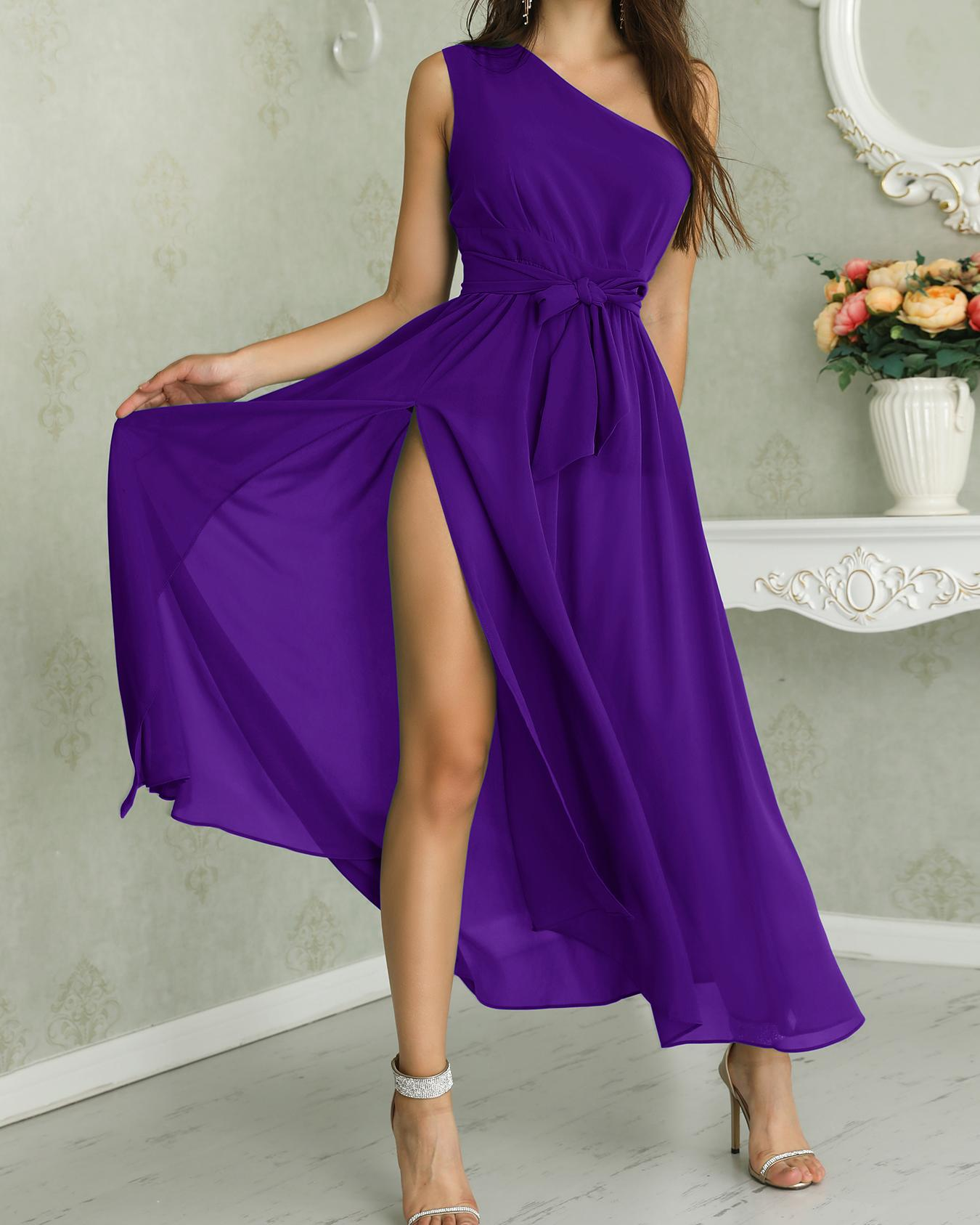 One Shoulder Tie Waist High Slit Maxi Dress, Purple