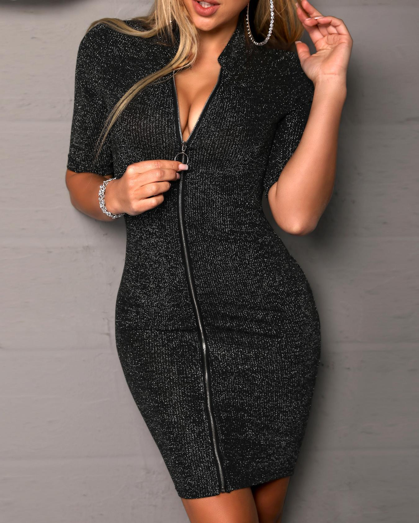 O-Ring Zipper Short Sleeve Bodycon Dress