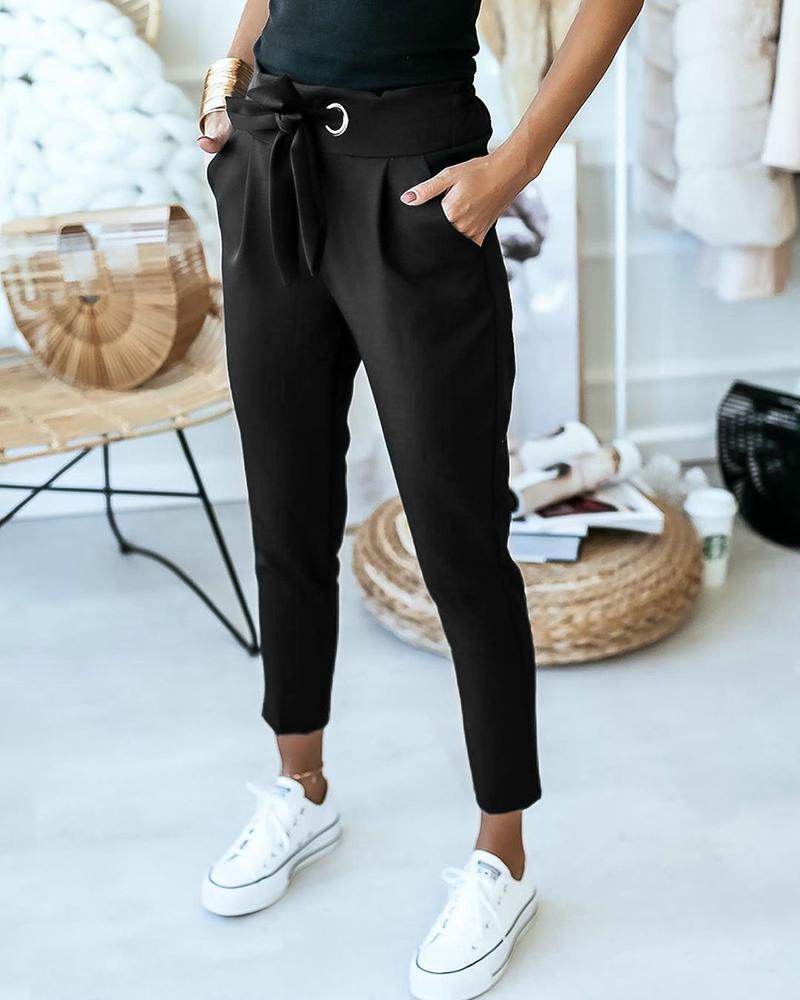 boutiquefeel / Pantalones casuales con diseño de bolsillo con detalle anudado con ojales