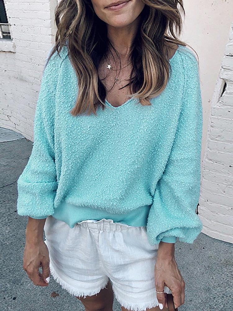 Solid V-Neck Long Sleeve Sweater фото
