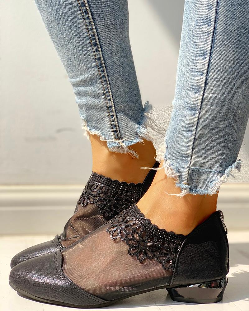 Patchwork Mesh See Through Heeled Sandals