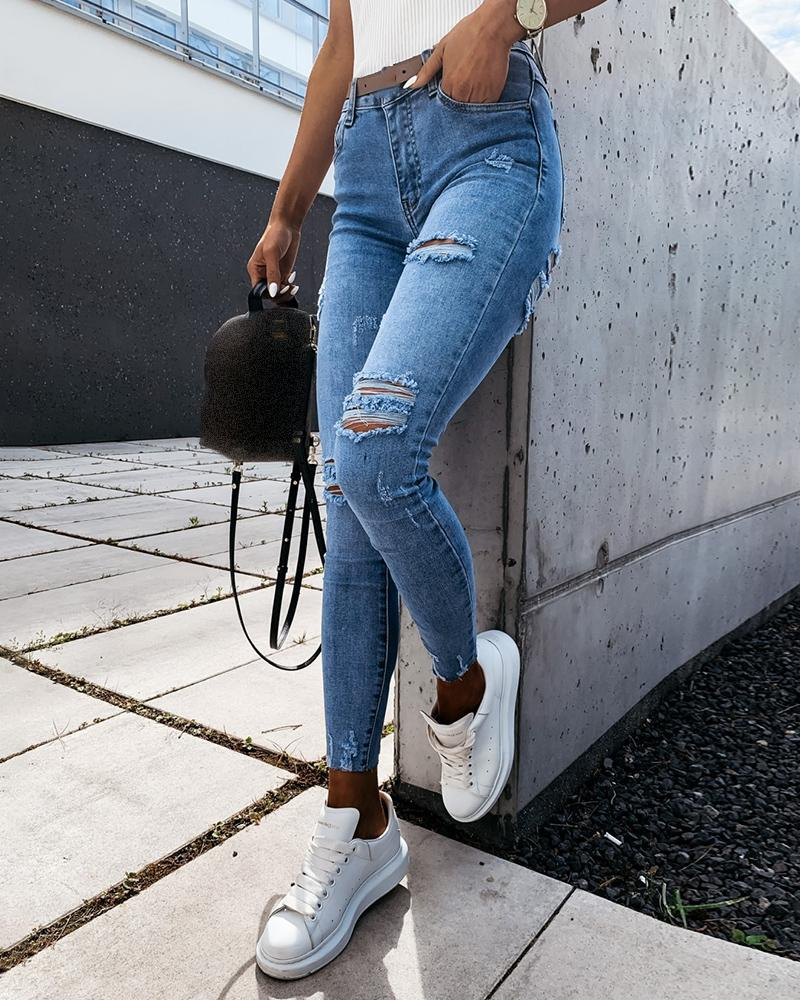 Cutout Ripped Button Design Casual Jeans фото