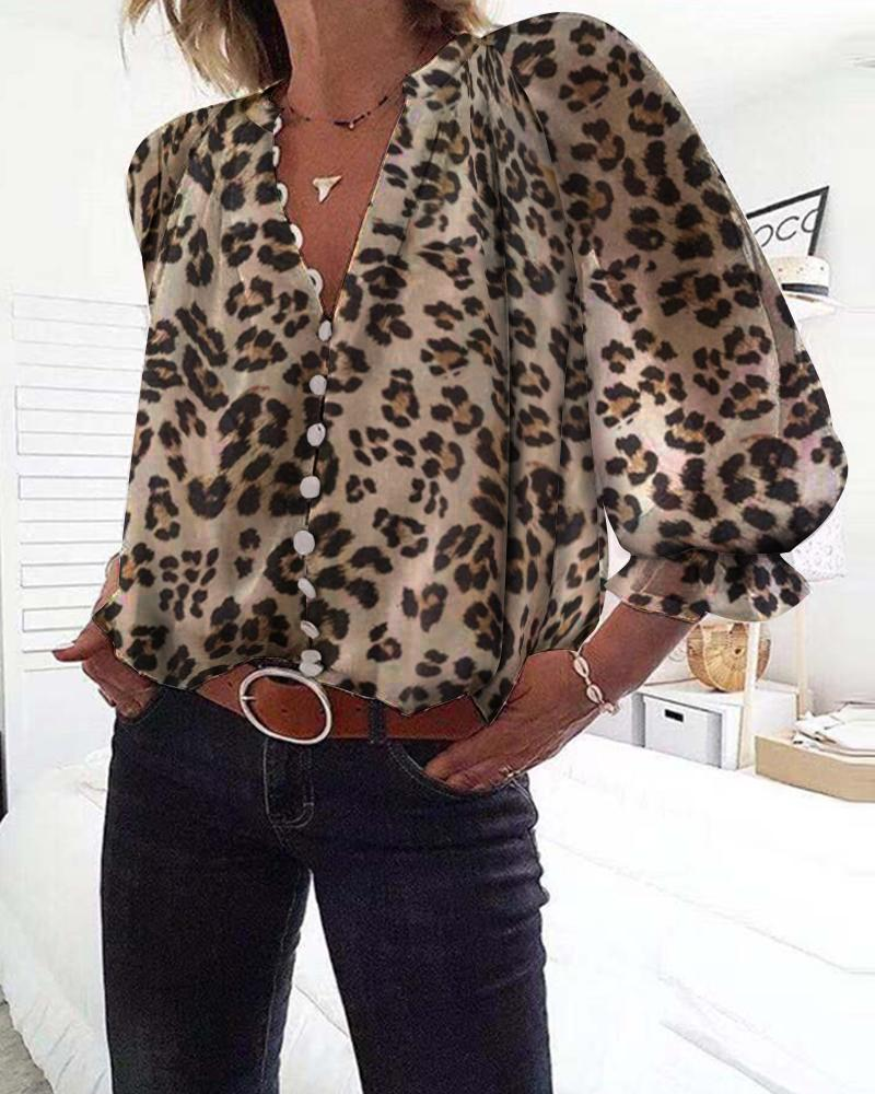 Leopard Print Long Sleeve Blouse фото