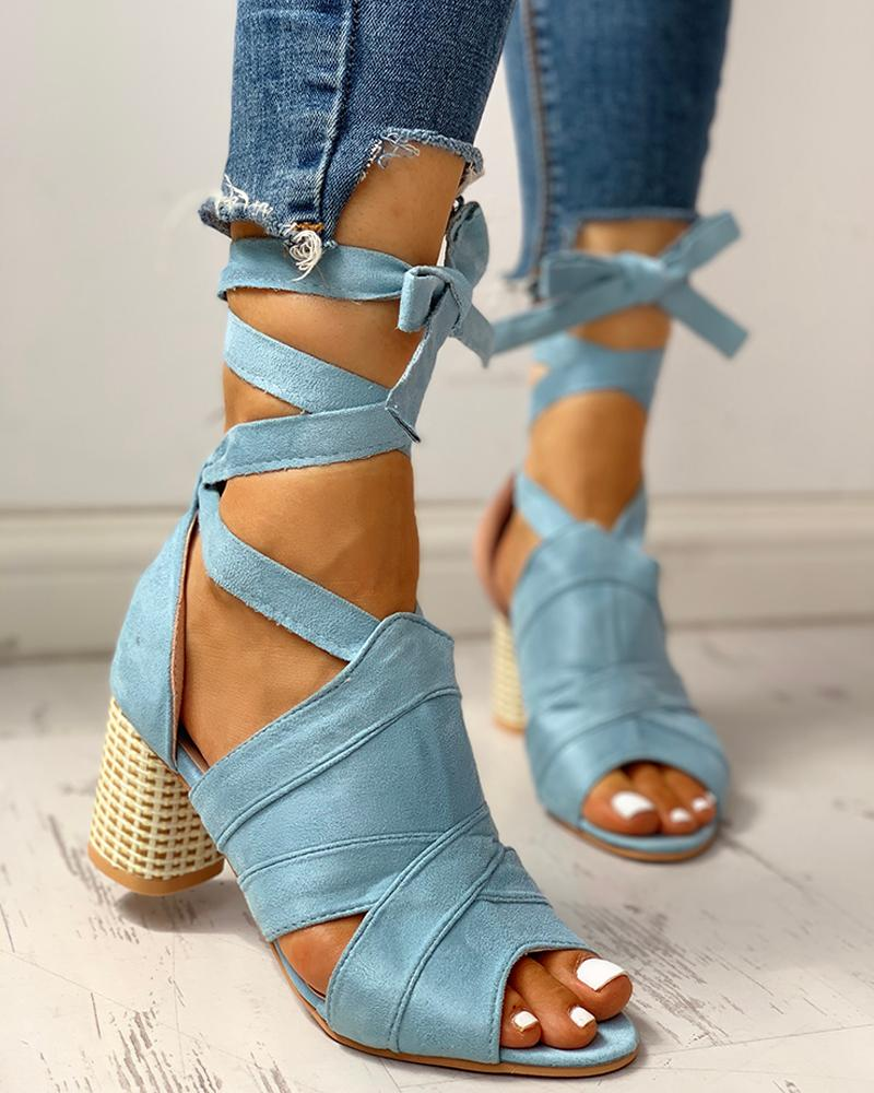 Bandage Lace-up Peep Toe Chunky Heeled Sandals фото